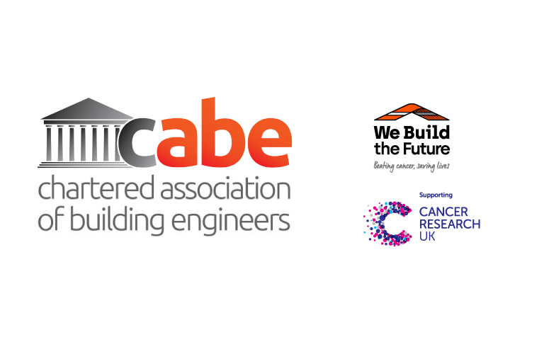 CABE, We Build The Future, Cancer Research UK logos